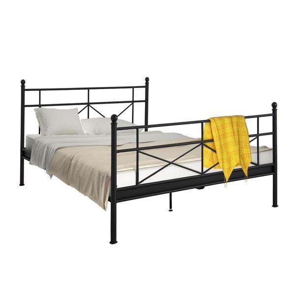 Černá kovová postel Støraa Tanja, 180x200cm
