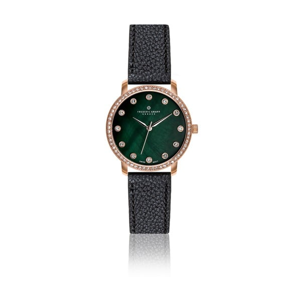 Dámské hodinky s černým páskem z pravé kůže Frederic Graff Ruinette