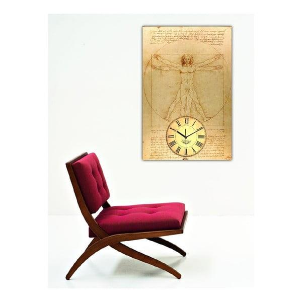 Obraz s hodinami Šifra Mistra Leonarda, 60x40 cm
