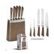 Sada 5 kuchařských nožů v bloku z nerezové oceli s efektem dřeva Jean Dubost