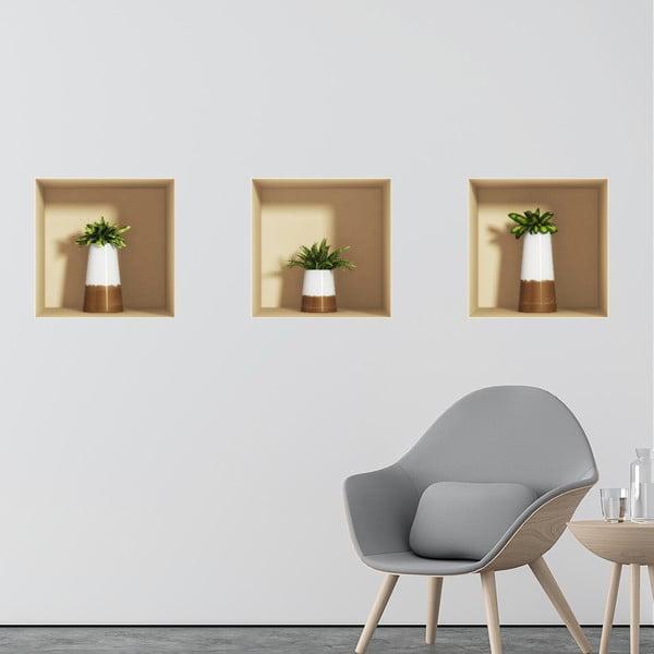 Sada 3 samolepiek s 3D efektom Ambiance Alore Vera