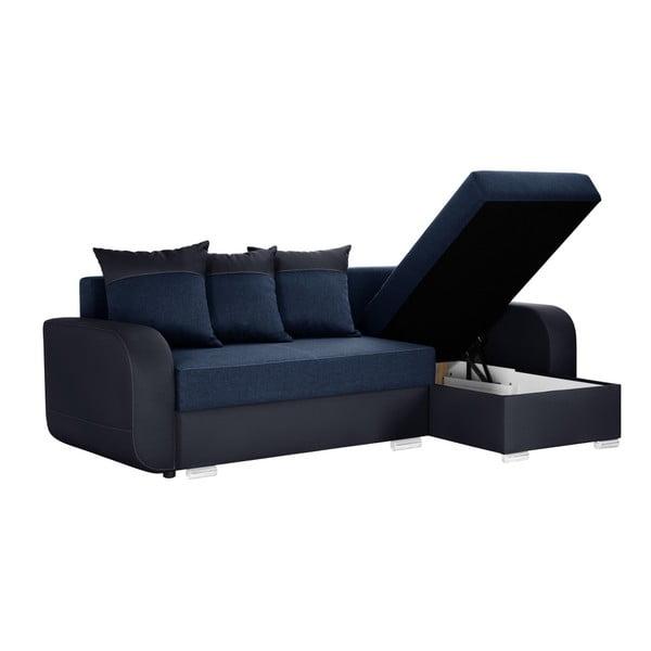 Tmavě modrá rohová rozkládací pohovka s úložným prostorem Interieur De Famille Paris Destin, pravý roh