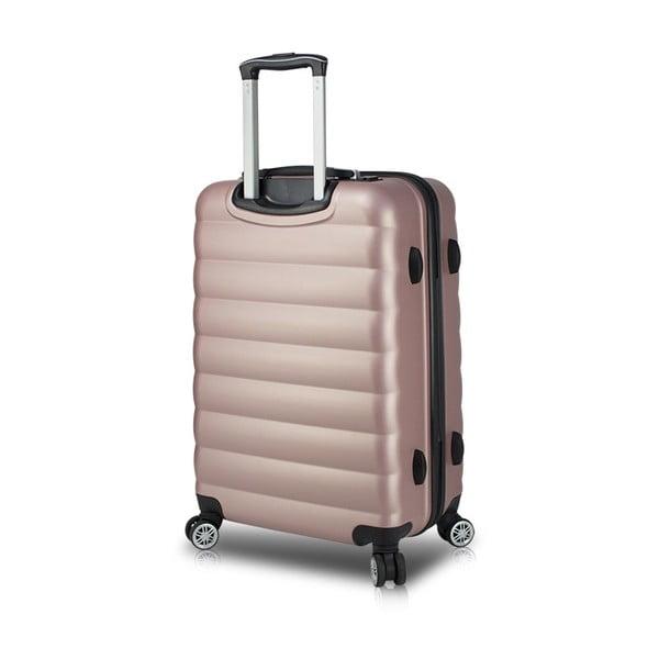 Różowa walizka na kółkach z USB My Valice COLORS RESSNO Medium Suitcase