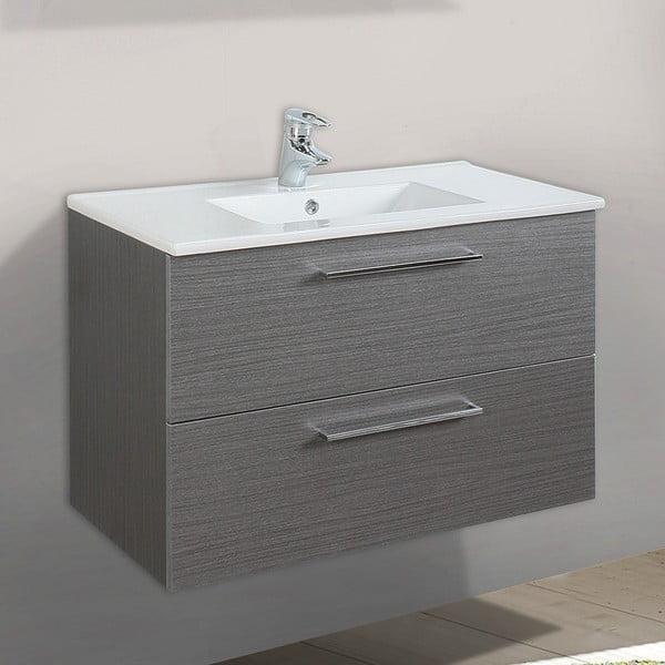 Koupelnová skříňka s umyvadlem a zrcadlem Giro, odstín šedé, 70 cm