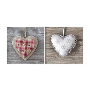 Set obrazů na skle Srdce, 20x20 cm, 2 ks