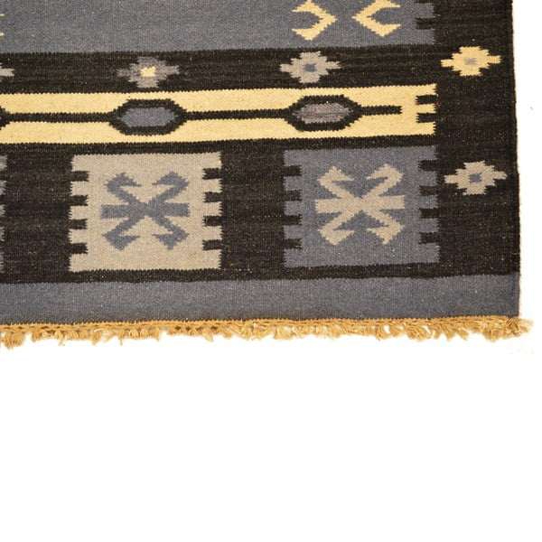 Ručně tkaný koberec Dark Grey Indians, 90x150 cm