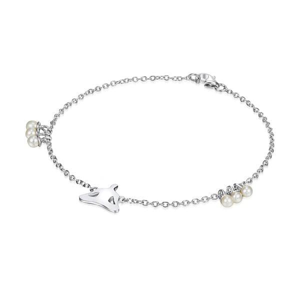 Stříbrný náramek s perlami a přívěskem Chakra Pearls Lotus, 19 cm