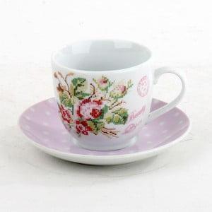 Porcelánová sada hrníčků na čaj Pink Roses, 6 ks