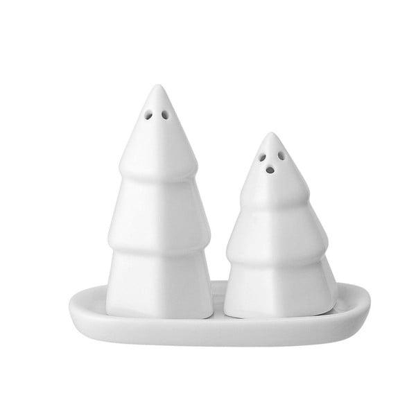 Biely porcelánový set soľničky a koreničky v tvare stromčeka s podstavcom Bloomingville Shaker