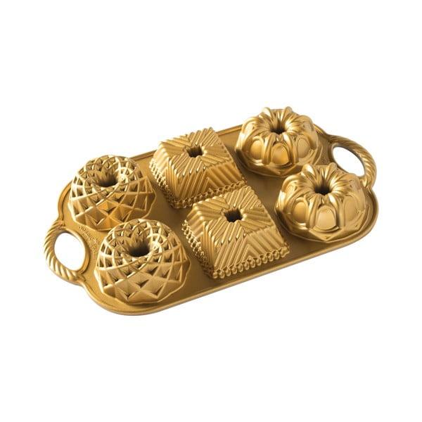 Formă pentru 6 mini prăjituri Nordic Ware Minimix, 800 ml, auriu