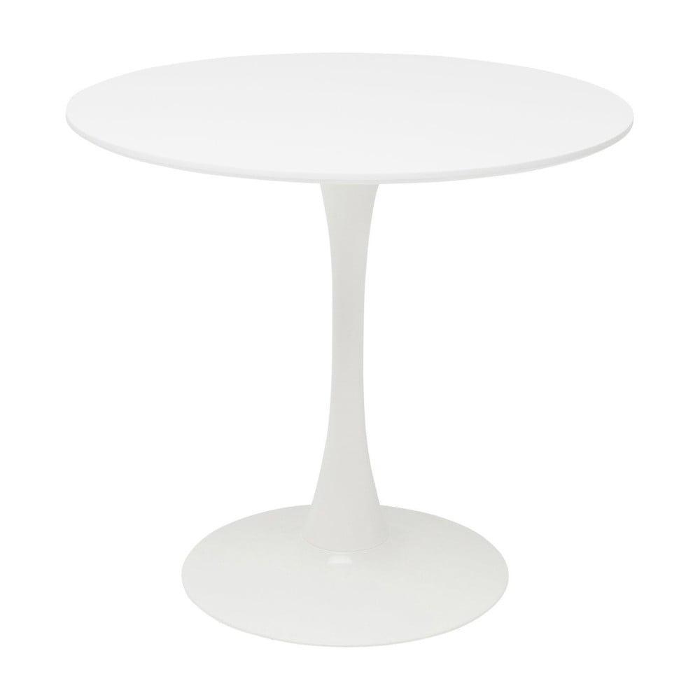 Bílý jídelní stůl s dřevěnou deskou Kare Design Schickeria, ⌀ 80 cm