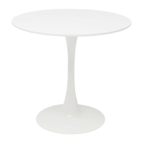 Biely jedálenský stôl s drevenou doskou Kare Design Schickeria, ⌀80 cm