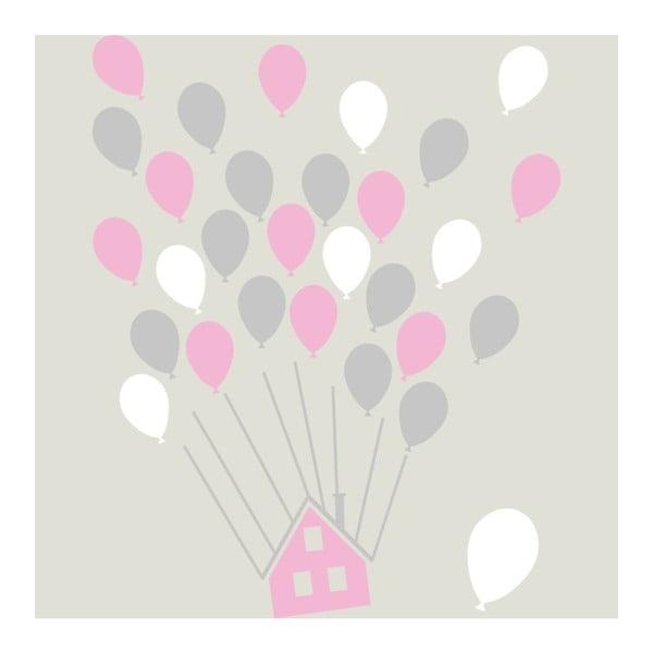 Sada nástěnných samolepek House With Balloons Pink