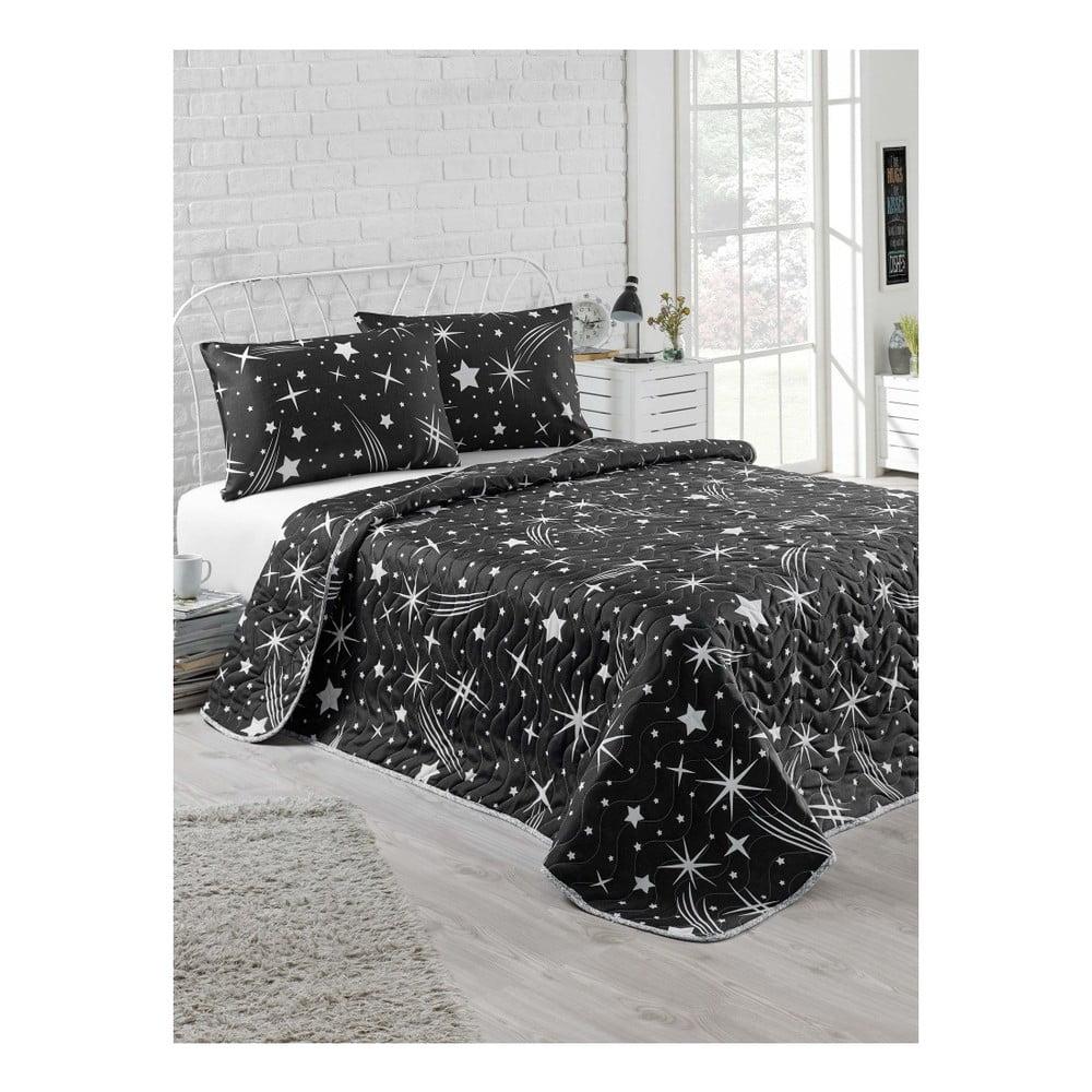 Set přehozu na dvoulůžko a povlaky na polštář Starry Night, 200 x 220 cm