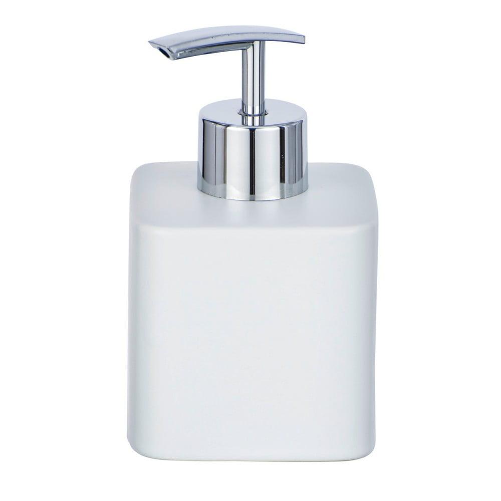 Matně bílý keramický dávkovač mýdla Wenko Hexa,290ml