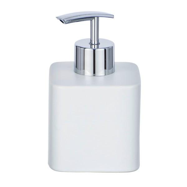 Matný biely keramický dávkovač mydla Wenko Hexa,290ml