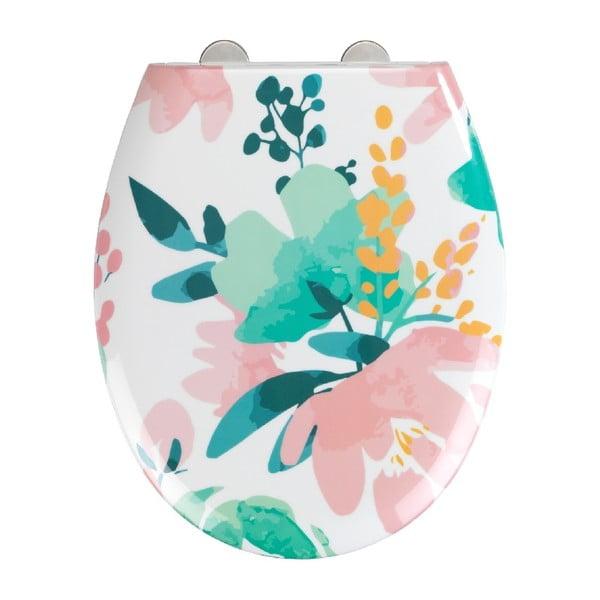 WC sedátko se snadným zavíráním Wenko Easy Flowery, 44,5 x 37 cm