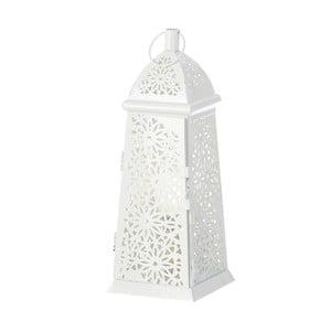 Bílá lampa ve tvaru lucerny Unimasa, 12 x 34 cm