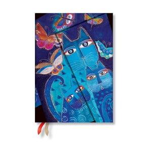 Diář na rok 2019 Paperblanks Blue Cats & Butterflies Verso, 13 x 18 cm