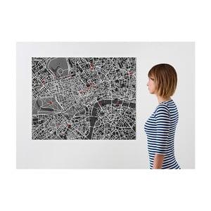 Černá nástěnná mapa Palomar Pin Londýn