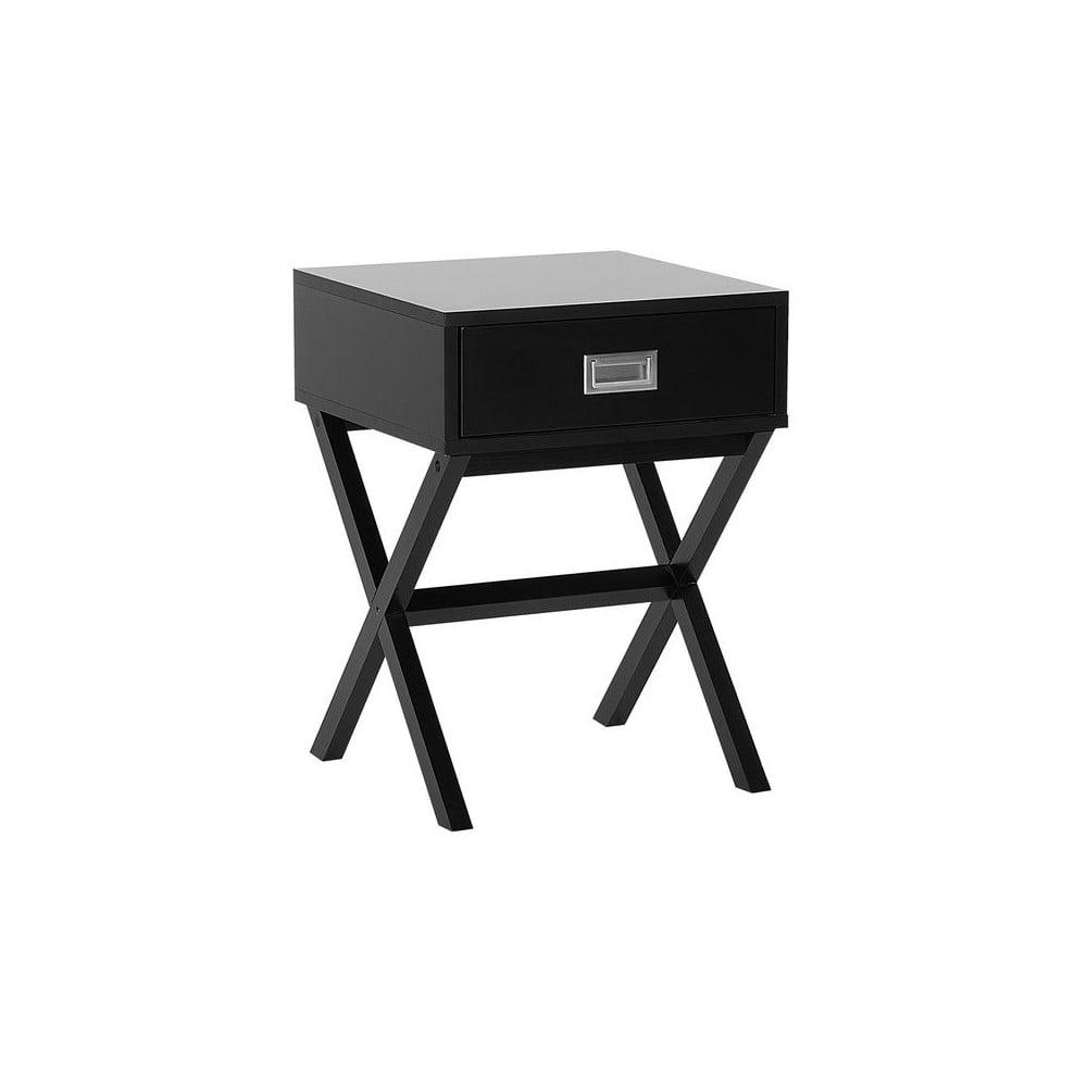 Černý noční stolek s 1 šuplíkem Monobeli Frey