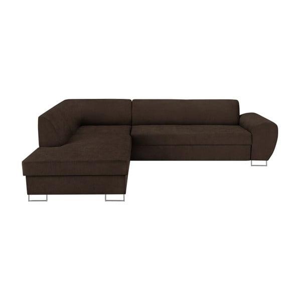 Canapea extensibilă cu spațiu pentru depozitare Kooko Home XL Left Corner Sofa, maro închis