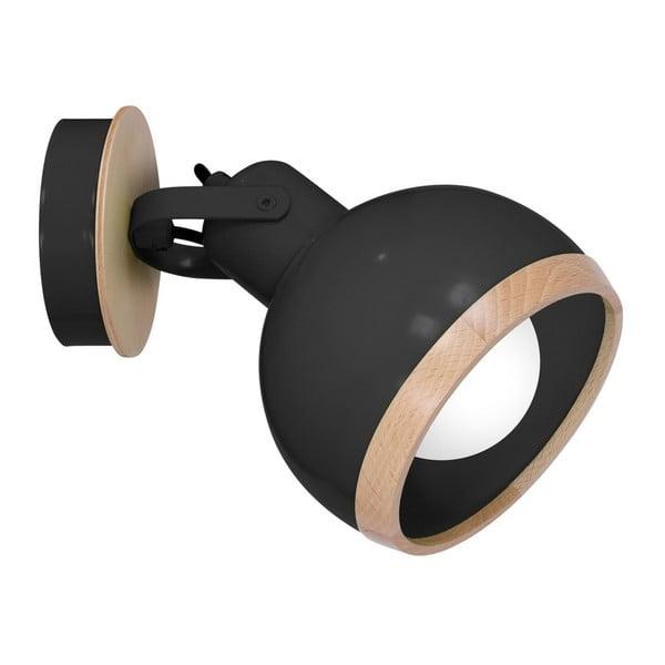 Oval fekete falilámpa fa részletekkel