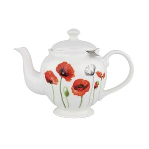 Konvička z kostního porcelánu se sítkem na sypaný čaj Ashdene Poppies, 750ml