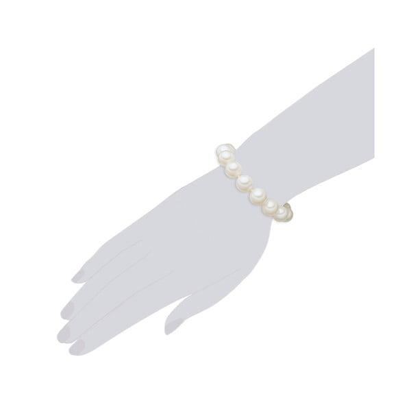 Náramek s bílými perlami ⌀12 mm Perldesse Muschel se zapínáním, délka 19 cm