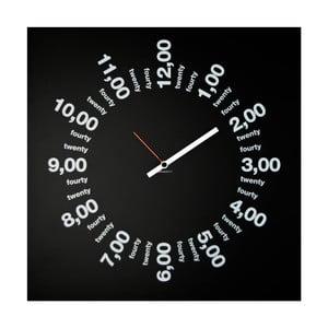 Nástěnné hodiny dESIGNoBJECT.it Only Hours Black,50x50cm