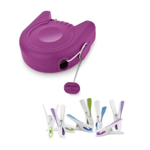 Set šňůry na prádlo a kolíčků Delight Purple
