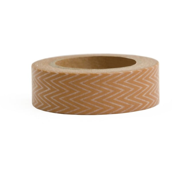 Washi páska Ohh Deer Fine Brown Zig Zag, 10 m