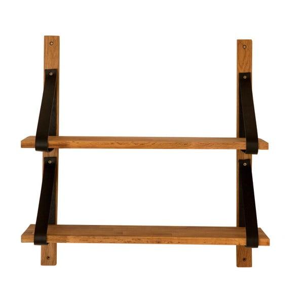 Półka wisząca z litego drewna dębowego Canett Uno