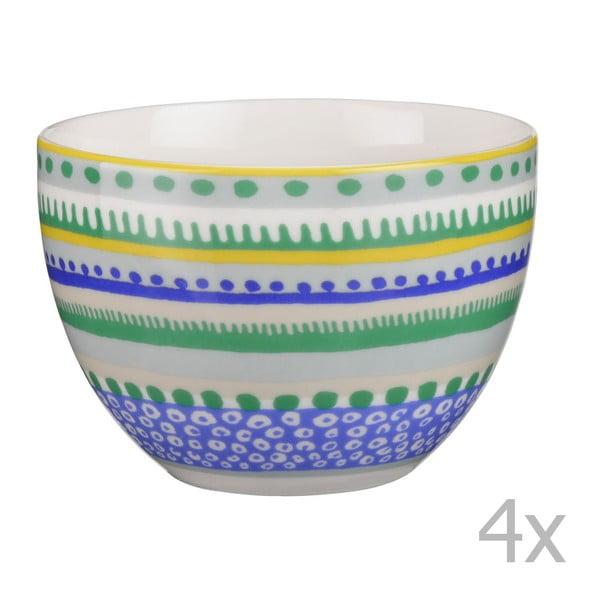 Sada 4 porcelánových misek / hrnků Oilily 10 cm, zelená