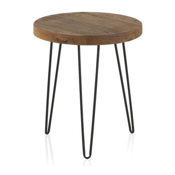 Odkladací stolík s doskou z brestového dreva Geese Camile, ⌀ 46 cm