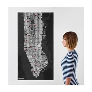 Černá nástěnná mapa Palomar Pin New York
