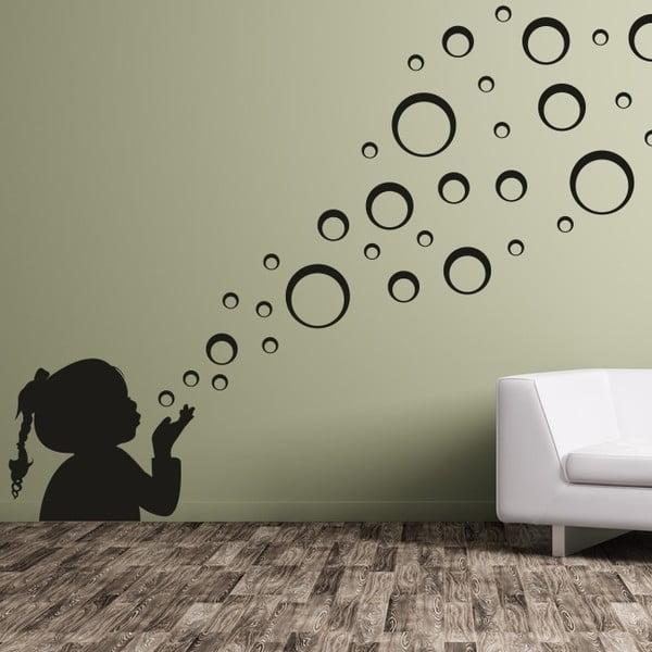 Samolepka na stěnu Velká holčička a bubliny, černá