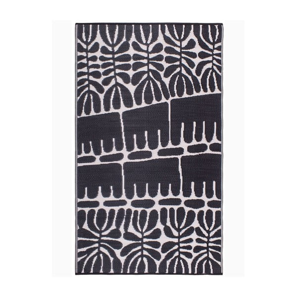 Covor reversibil potrivit pentru exterior, din plastic reciclat Fab Hab Serowe Black, 120 x 180 cm, negru