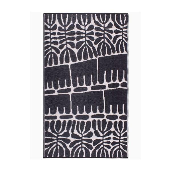 Černý oboustranný venkovní koberec z recyklovaného plastu Fab Hab Serowe Black, 90 x 150 cm