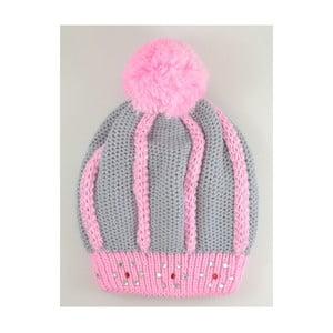 Dívčí čepice Beret Light Grey/Pink
