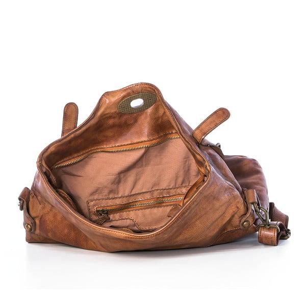 Hnědá kožená kabelka Federica Bassi Rana