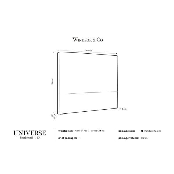 Světle šedé čelo postele Windsor & Co Sofas UNIVERSE, 140x120cm