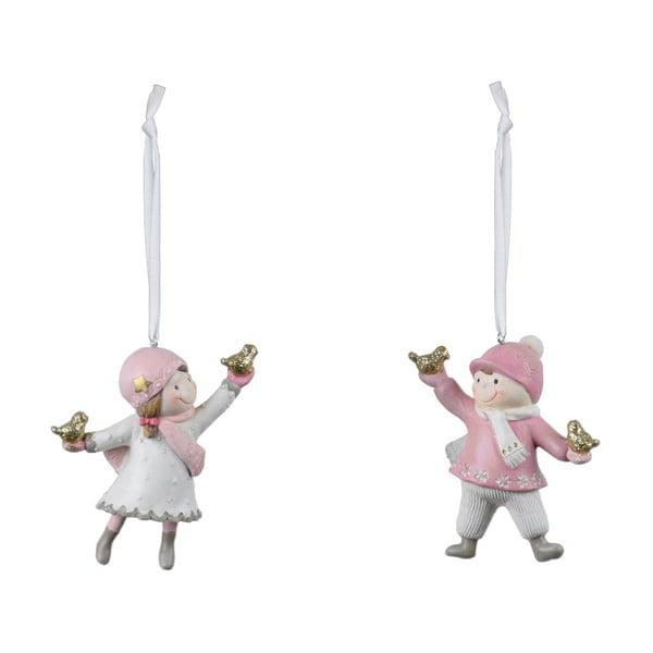 Sada 2 závěsných vánočních dekorací v růžové a krémově bílé barvě Ego Dekor Playful
