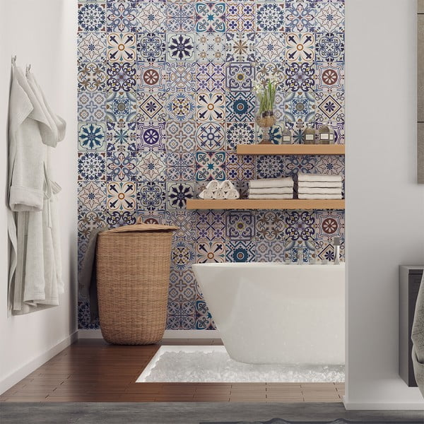 Sada 30 nástěnných samolepek Ambiance Tiles Azulejos Riviera, 10 x 10 cm