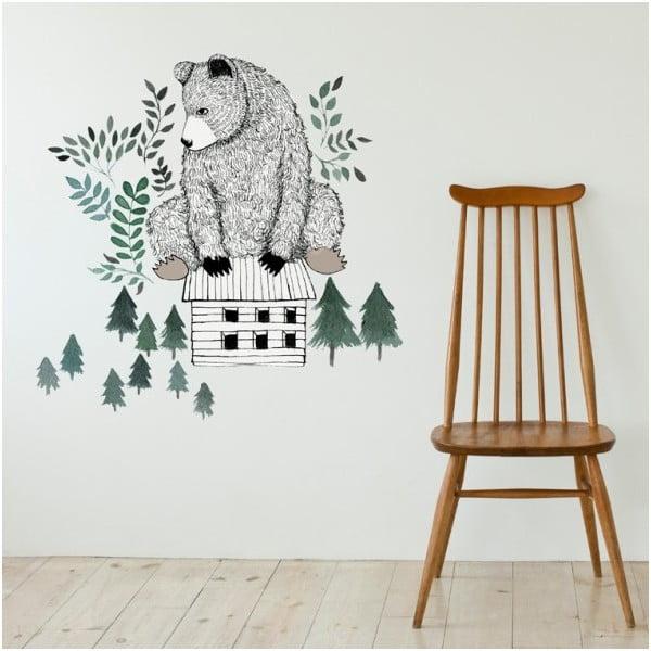 Dekorativní samolepka na zeď Bear and Cabin