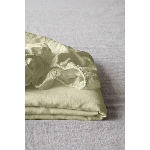 Jasnozielone elastyczne prześcieradło lniane Linen Tales, 180x200 cm