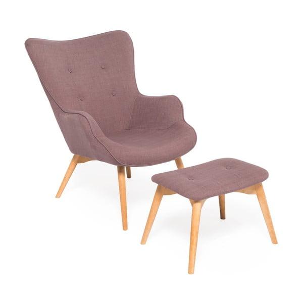 Fioletowy fotel z podnóżkiem Vivonita Cora Velver