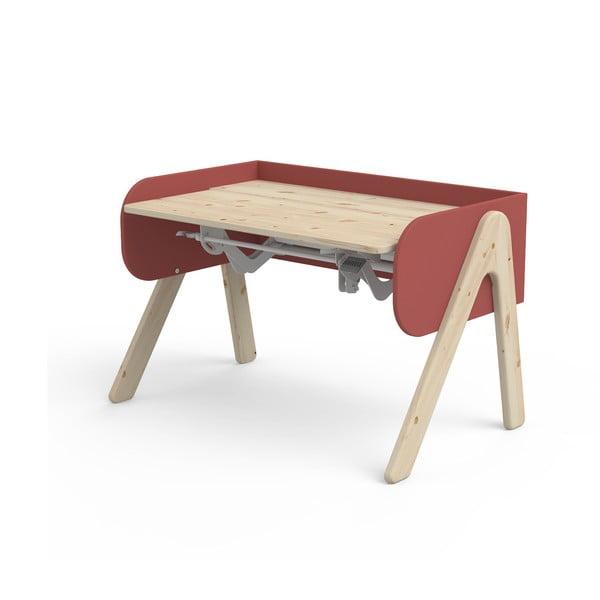 Czerwono-brązowe biurko z drewna sosnowego z regulacją wysokości Flexa Woody