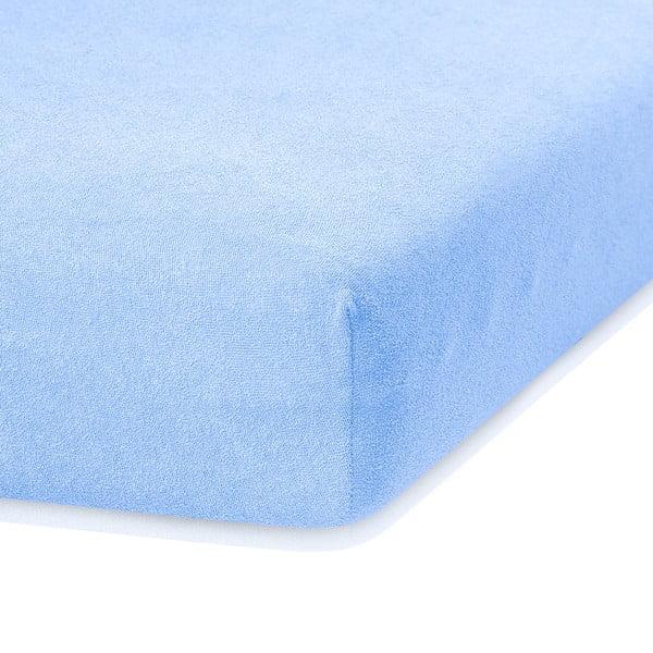 Jasnoniebieskie prześcieradło elastyczne z dużym dodatkiem bawełny AmeliaHome Ruby, 200x140-160 cm