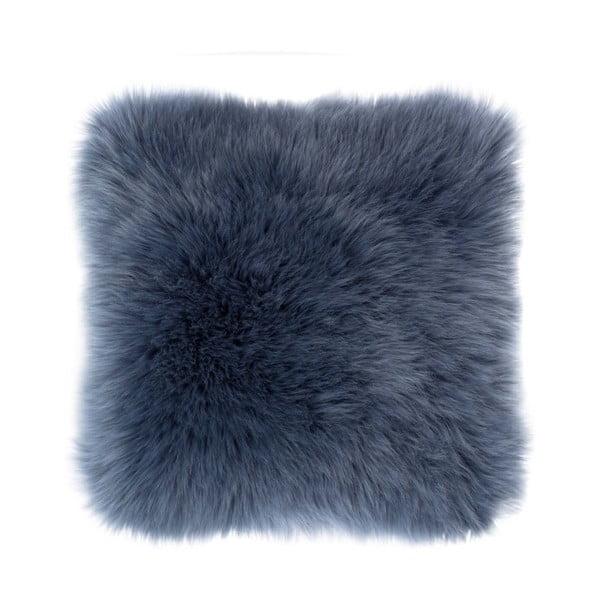 Modrý polštář Tiseco Home Studio Sheepskin, 45 x 45 cm